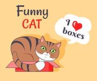 Lustige Liebe der Katzen-I packt Plakat-Vektor-Illustration ein lizenzfreie abbildung