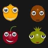 Lustige lokalisierte Ikonen: Zitrone, Kirsche, Kartoffel und Zwiebel mit schwarzem Hintergrund lizenzfreie abbildung