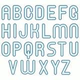 Lustige Luftblasenschrifttypen des weichen blauen kalten Kindes Stockbild