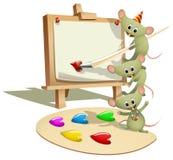 Lustige Mäuse, die wie man unterrichten, malt Stockfotografie