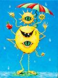Lustige Malerei eines glücklichen Monsters im Regen Stockfotos