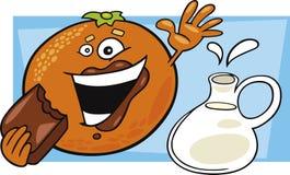 Lustige Orange essen Schokolade und Potenziometer Milch Lizenzfreies Stockbild