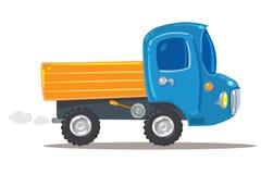 Lustige Orange mit blauem LKW Stockbild
