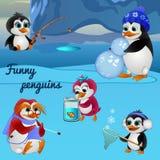Lustige Pinguine, beschäftigt mit verschiedenen Sachen lizenzfreie abbildung