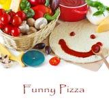 Lustige Pizza. Lizenzfreies Stockfoto