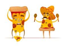 Lustige Pizza schneidet Charaktere Lizenzfreies Stockbild