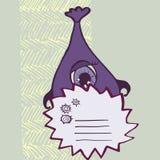 Lustige purpurrote Monster mit Zeichen Stockbilder