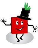 lustige quadratische Zeichentrickfilm-Figur des Kerl-3d mit Tophat Lizenzfreies Stockfoto