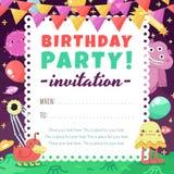 Lustige Raumeinladung der Geburtstagsfeier mit Karikaturausländern und -monstern Lizenzfreie Stockfotografie