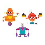 Lustige Reparaturroboter der flachen Karikatur des Vektors eingestellt lizenzfreie abbildung