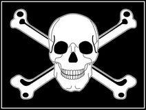 Lustige Roger-Piraten-Markierungsfahne mit dem Schädel und den gekreuzten Knochen Stockbilder