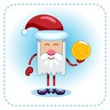 Lustige Santa Claus und Münze. Lizenzfreies Stockbild