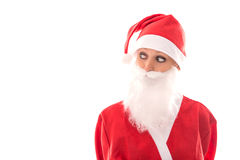 Lustige Santa Girl, die zum copyspace, lokalisiert auf Weiß, concep schaut Lizenzfreies Stockbild