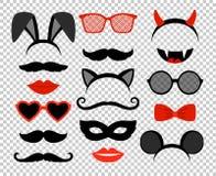 Lustige Schablonen Maskerademaskensatz, Gläser und Schnurrbart, Kaninchen- und Mäuseohren, Zähne, Lippen und Hörner stock abbildung