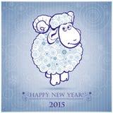 Lustige Schafe auf weißem Hintergrund von Schneeflocken 2 Lizenzfreie Stockfotos