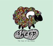 Lustige Schafe des Hippie-Gekritzels Stockbild
