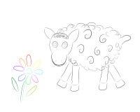 Lustige Schafe mit Blume Stockfoto