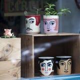 Lustige Schalen mit den männlichen und weiblichen Gesichtern im Shopfenster für Verkauf Lizenzfreie Stockbilder