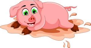 Lustige Schweinkarikatur, die in der Schlammpfütze spielt Lizenzfreie Stockfotografie