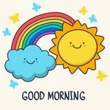 Lustige skizzierende lächelnde Sonne, Wolke und Regenbogen Vektorkarikatur I