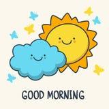 Lustige skizzierende lächelnde Sonne und Wolke Vektorkarikatur illustrati Lizenzfreies Stockfoto