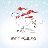 Lustige skizzierende Schafe - Symbol des neuen Jahres 2015 Lizenzfreie Stockfotos