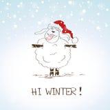 Lustige skizzierende Schafe - Symbol des neuen Jahres 2015 Lizenzfreie Stockbilder