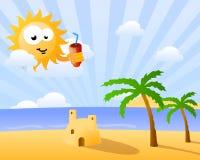 Lustige Sonne, die über dem Strand schaut Lizenzfreies Stockbild