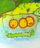 Lustige Sonnenblumen. Stockfoto