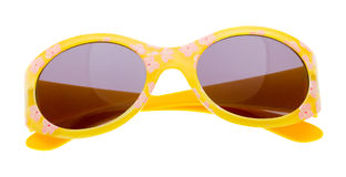 Lustige Sonnenbrillen getrennt auf Weiß Stockfotos