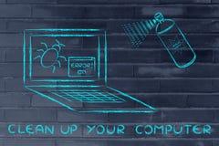 Lustige Sprayaufräumen Computerwanzen Lizenzfreie Stockfotos