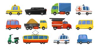 Lustige Stadttransportgegenstände in der modischen Karikaturart Sammlung der öffentlichen Transportmittel des Vektors Krankenwa lizenzfreie abbildung