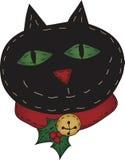 Lustige Stechpalme-Volkskunst-Katze Lizenzfreie Stockbilder