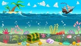 Lustige Szene unter dem Meer stock abbildung