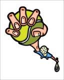 Lustige Tennisspieler-Holdingkugel Stockbilder