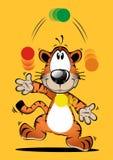 Lustige Tigerkarikatur, die Ball spielt Lizenzfreies Stockfoto