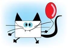 Lustige Umschlagkatze mit rotem Ballon stock abbildung