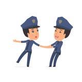 Lustige und des fröhlichen Charakters Polizei schleppt seinen Freund zu SH stock abbildung