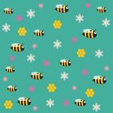 Lustige Vektorbienen mit Blumen Stockbild