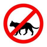 Lustige verbotene Verkehrsschild-Katzenikone lokalisiert Stockfotos