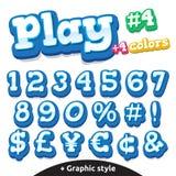 Lustige Videospielbuchstaben des Vektors eingestellt Zahlen und Symbole Lizenzfreies Stockfoto