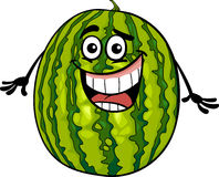 Lustige Wassermelonenfrucht-Karikaturillustration Stockbild