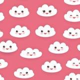 Lustige weiße Wolken Kawaii stellten ein, Mündung mit rosa Backen und Blinzelnaugen Nahtloses Muster auf rosa Hintergrund Vektor Lizenzfreies Stockbild