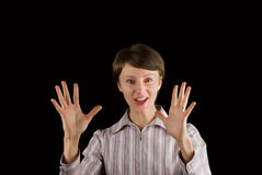 Lustige weibliche Person, die beeindruckt schaut lizenzfreies stockbild