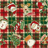 Lustige Weihnachtselemente mit Schottenstoffhintergrund Lizenzfreie Stockfotos