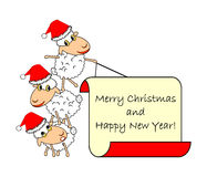Lustige Weihnachtskarikaturschafe Stockbild