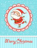 Lustige Weihnachtskarte. Santa Claus-Eislauf. stock abbildung