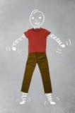 Lustige Zeichentrickfilm-Figur in der zufälligen Kleidung Lizenzfreies Stockbild