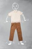Lustige Zeichentrickfilm-Figur in der zufälligen Kleidung Lizenzfreies Stockfoto