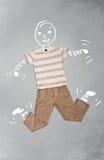Lustige Zeichentrickfilm-Figur in der zufälligen Kleidung Lizenzfreie Stockfotografie